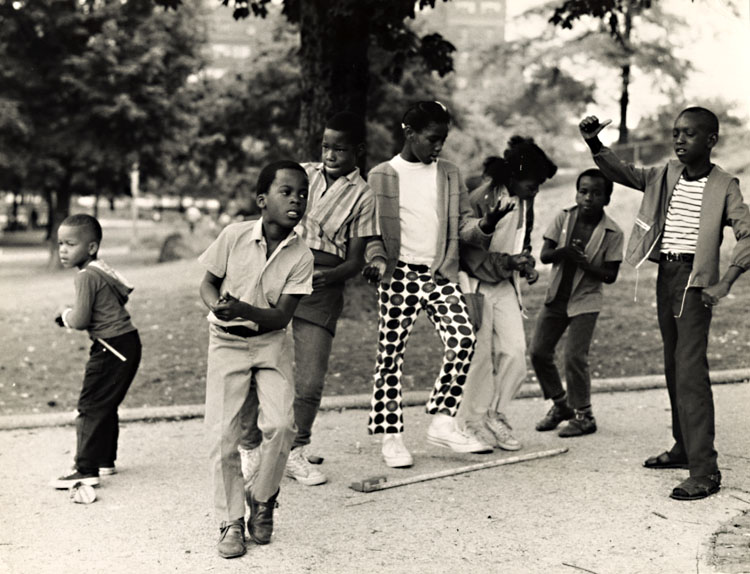 Black Children Dance to Rock 'n Roll in in Harlem's Mount Morris Park, New York City, NY