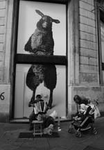 Stanko Abadžic - Street Scene with Large Sheep Poster Click for more Images